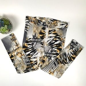 Thalia Sodi Tiger Mixed Print Leggings Size XL